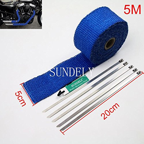 SUNDELY® Blue Color Glassfiber Exhaust Pipe Header Heat Wrap Resistant Downpipe Tape Roll 2in X 16ft (5cm X 5m) + 5 Metal Ties 1