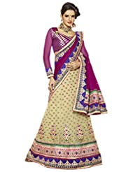Alethia Beige & Purple Pure Velvet Party Wear Embroidered Sarees With Unstitched Blouse