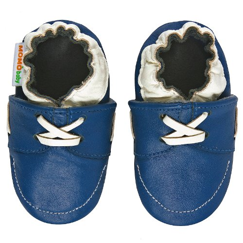 Momo Baby Infant/Toddler Loafer Blue Soft Sole Leather Shoes - 12-18 Months/4.5-5.5 M US Toddler