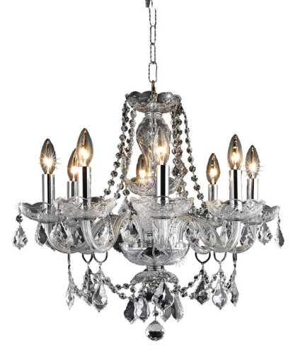 Elegant Lighting 7838D20C/Rc Princeton 20-Inch High 8-Light Chandelier, Chrome Finish With Crystal (Clear) Royal Cut Rc Crystal front-680599