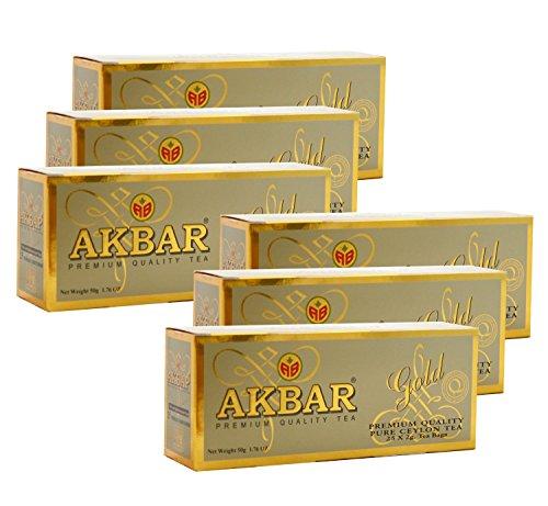Akbar | Gold Range | Gourmet Ceylon Tea |100% Single Origin | Black Tea | Non GMO | Packed Fresh | 25 Count String & Tag Teabags (Pack of 6) (Gourmet Stove compare prices)