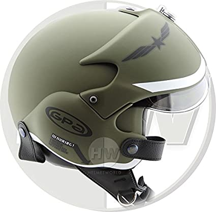 OPEN FACE SCOOTER HELMET OSBE GPA AIRCRAFT TORNADO GREEN ARMY TR1 UK 63CM AND OVER XXL 2XL