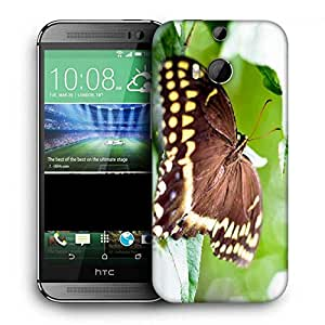 Snoogg Brown Butterfly Printed Protective Phone Back Case Cover For HTC One M8