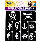 Glimmer Body Art Pirates And Mermaid Glitter Tattoo Stencil Set