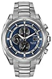 Citizen Watch Titanium Men's Quartz Watch with Blue Dial Chronograph Display and Silver Stainless Steel Gold Plated Bracelet CA0550-87L