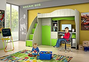 Brand New Kids Children Bedroom Cabin Bunk Bed DREAM with stairs and computer desk in Ash/Green sold by Arthauss