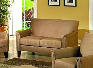 Contemporary Peat Microfiber Sofa Loveseat