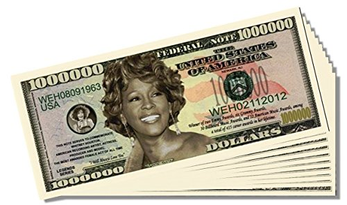 Whitney Houston Million Dollar Bill - 25 Count with Bonus Clear Protector & Christopher Columbus Bill