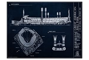 Buy Great American Ball Park Blueprint Style Print by Ballpark Blueprints