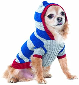 Fashion Pet Lookin Good Collegiate Striped Hoodie Sweater for Dogs, Large, Blue