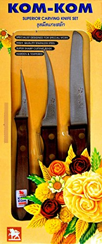 Thai Carving Knives Set Kom-Kom Knife #3 High Quality Hi-Carbon Stainless Steel (Free 4 Piece Carving Knife)