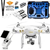 DJI Phantom 3 Professional (Pro) Quadcopter Drone with Two Spare Batteries and GPC Hardshell Wheeled Case Bundle. Includes 3K Maps Made Easy Points, Drones Made Easy Lanyard and USB Reader