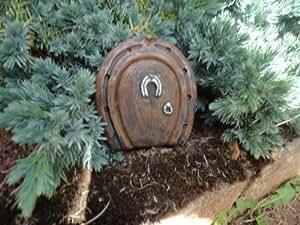 Small horseshoe fairy hobbit door ideal for gardens and for Amazon uk fairy doors