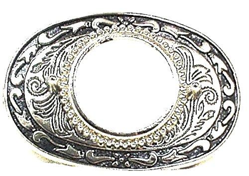 "Silver Plated Black Enamel Dollar Holder Belt Buckle 3-1/2 "" W x 2-3/8 "" H"
