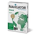 Navigator UNIVERSAL A4, Blanco, A4 (210 x 297 mm) [5 x 500 hojas] - Hojas por paquete: 500. Formato: A4 - Gramaje de 80+/- 3 g/m² y espesor de 108 +/- 3 micras - Libre de atascos: el papel Navigator asegura un inmejorable 99.99 % sin atascos ...