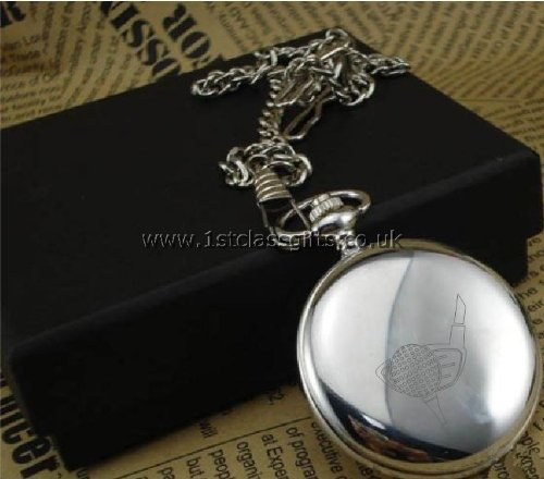 POCKET WATCH GOLF LOGO PWC2 CHROME CAN BE PERSONALISED ENGRAVED FREE