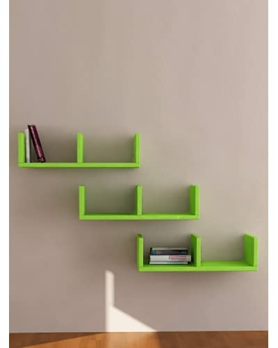 Decortie by Homemania Set 3 Estantes U-Model Verde