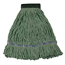 "Wilen A11302, E-Line Looped End Wet Mop, Medium, 5"" Mesh Band, Green (Case of 12)"