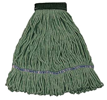 """Wilen A11303, E-Line Looped End Wet Mop, Large, 5"""" Mesh Band, Green (Case of 12)"""