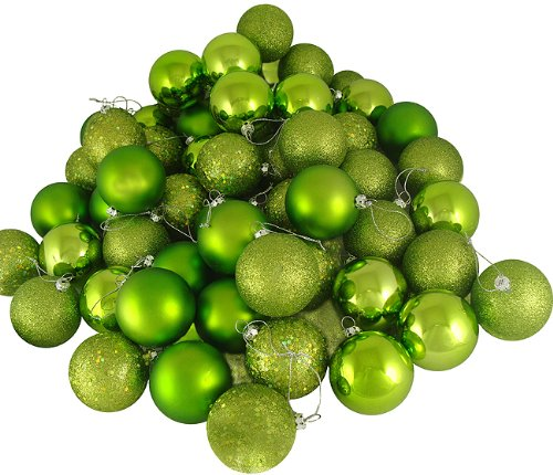 16ct Green Kiwi Shatterproof 4-Finish Christmas Ball Ornaments 3″ (75mm)