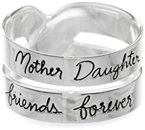 "Sterling Silver ""Mother Daughter Friends Forever"" Double Band Ring from Amazon Curated Collection"