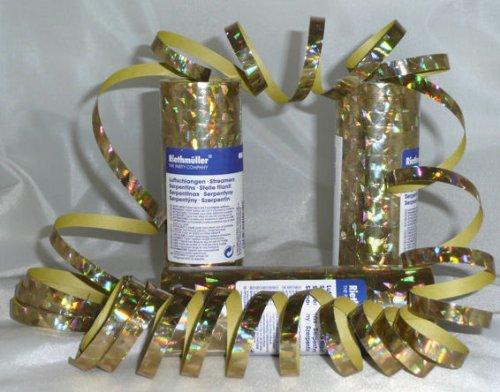 Neu Luftschlange Holographie Gold 7 Mm X 4 M