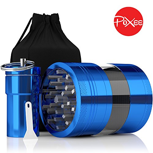 Weed-Herb-and-Tobacco-Grinder-4-Piece-Aluminum-Spice-Crusher-with-Carrying-Bag-Container-325-Blue-By-Poxee