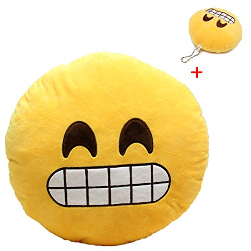 Great Deal! KingSo® Smiley Emoticon Plush Pillow Round Cushion Toy(Buy 1 Get 1 Free Smiley Emoticon...