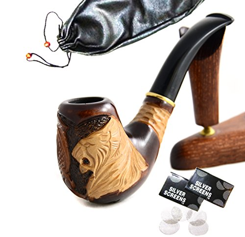 "Pear Wood Hand Carved Tobacco Smoking Pipe ""Lion IV"" + Pouch"
