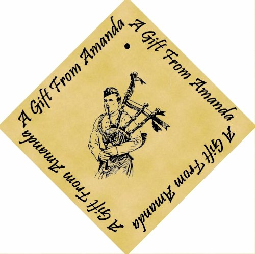 Pack of 12 PERSONALISED Parchment 6cm Square Gift Tags Bagpipes
