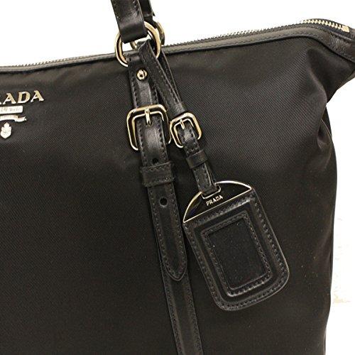 d2c74ebb53f60 Prada B4253M Nero Black Tessuto Soft Calf Nylon and Leather Shopping Tote  Bag