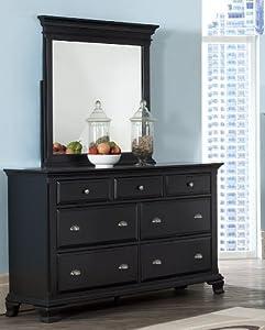 Roundhill Furniture Laveno 011 Black Wood 7 Drawer Dresser And Mirror Home Garden