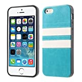 Generic Synthetic Leather TPU Phone Case for iPhone 5s 5 - Blue
