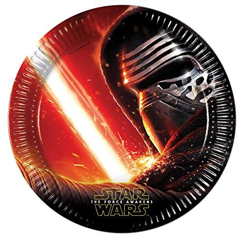 Procos 86210 - Piatti Carta Star Wars The Force Awakens, Ø23 cm, 8 Pezzi, Nero/Rosso