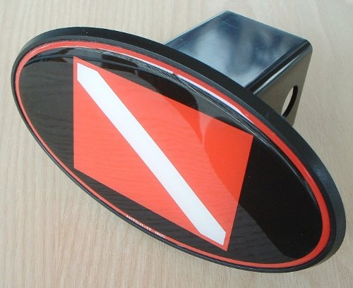 Scuba Diving Flag Water Sports Trailer Hitch Cover Plug for Cars, Trucks, SUVs