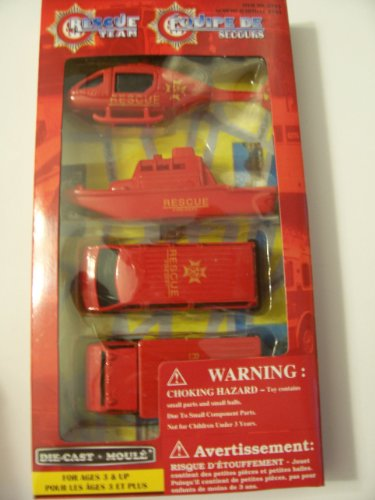 Rescue Team Die-cast Vehicle Set ~ Helicopter, Boat, Van, Utility Truck (Fire Department)