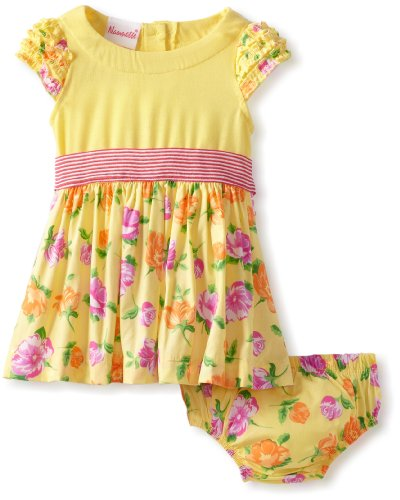 Nannette Baby-Girls Newborn Printed 2 Piece Knit Dress, Yellow, 3-6 Months