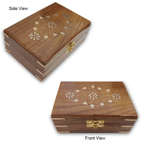 Hand-Engraved Wooden Jewelry Box With Brass Pieces, Velvet Lined Inside (Free Shipping) Wbox0255