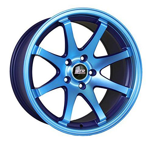 FOUR BRAND NEW STR522 17X9 5X4.5 +20mm NEON BLUE WHEELS RIMS SET (Str Rims 17 Inch compare prices)