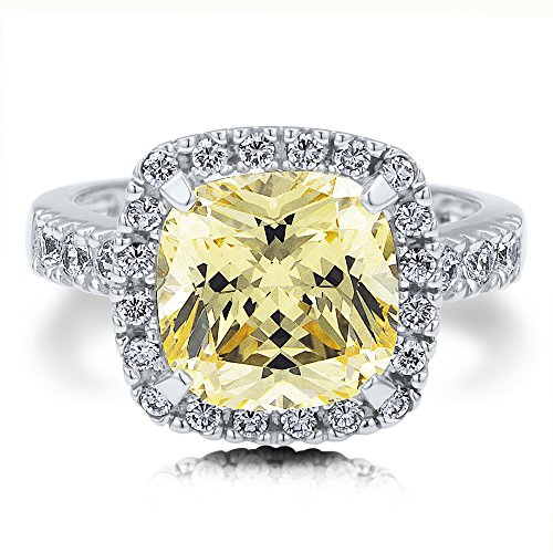 Berricle 925 Sterling Silver Canary Cz Cushion Cz Fashion Right Hand Ring Size 6