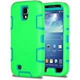 ULAK 3in1 Shock-Absorption Hybrid Impact Rubber Combo Rigid Plastic + Soft Silicone Protective Case Cover for Samsung Galaxy S4 IV i9500 (Aquamarine Blue+Green)