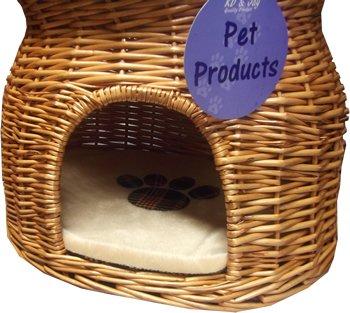 Wicker Two Tier Pet Pod Cat Dog Bed Basket & Fleece Cushions Tartan Pawprint