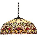 Chloe Lighting CH33453BF18-DH2 Sunny Tiffany-Style Floral 2-Light Ceiling Pendant with Fixture with 18-Inch Shade