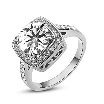 Yoursfs Sparkling Square Center Classic Austrian Zirconia Engagement and Wedding Ring