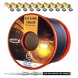 HB Digital 135dB 50m Koaxial SAT Kabel Reines KU Kupfer
