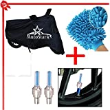AutoStark Bike Body Cover Black+Tyre Led Light Blue+Bike Cleaning Gloves For Bajaj Discover 100 DTS-I