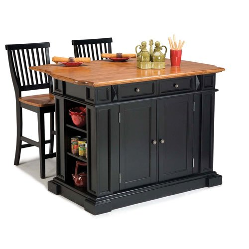 Home Styles 5003-948 Kitchen Island with Stool, Black and Distressed Oak Finish