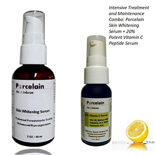Intensive Treatment And Maintenance Combo: Porcelain Skin Whitening Serum + 20% Potent Vitamin C Peptide Serum For Brightens Dark Spots, Hyperpigmentation & Discoloration, Fade Age Spots, Neutralizing Free Radicals, While Stimulates Collagen, Repairs Wrin