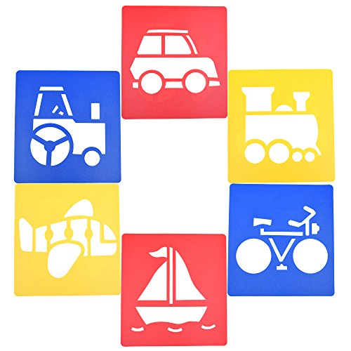 BCP Set of 6 Assorted Color Traffic System Drawing Painting Stencils Templates for Kids (JTCG) (Car Painting Color compare prices)