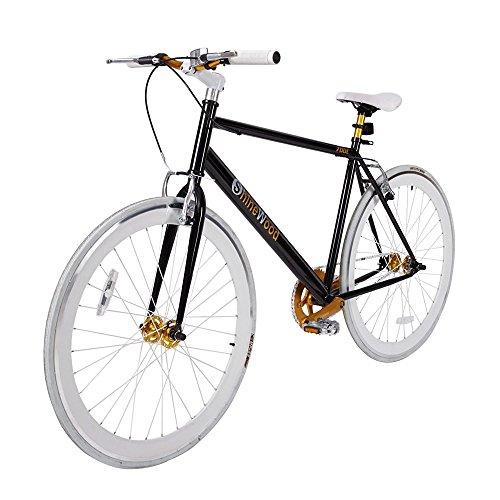 SHINEWOOD(シャインウッド) 自転車 ロードバイク ピストバイク クロスバイク シティサイクル 軽量 男女兼用 700C (ブラック)